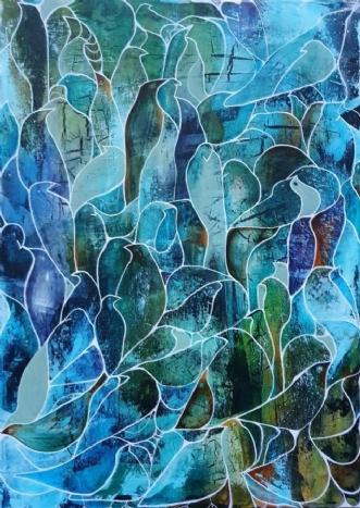Blå fugle by Irene Steenberg | maleri