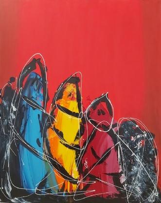 Family bond by Martin Boldsen | maleri