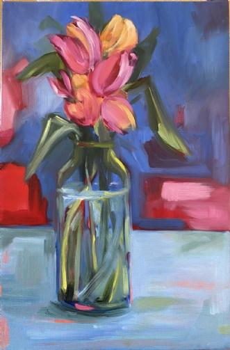 Tulipaner i flaske by Susanne Luup | maleri