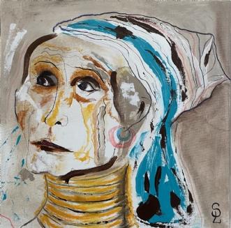 Padaungkvinde fra M.. by Susanne Luup | maleri