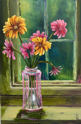 Flowers in a window by Susanne Luup | maleri