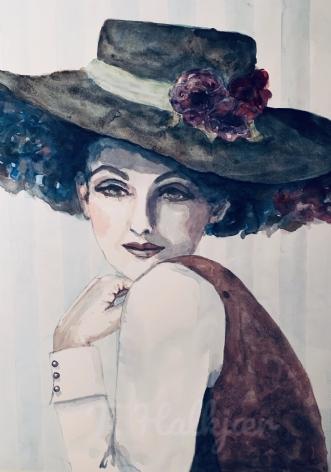 Hatte dame by Tine Halkjær | tegning