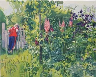 Lupiner og akelejer by Marie Fredborg   maleri