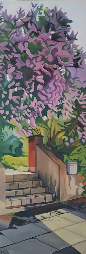 Syrener i morgensol by Marie Fredborg | maleri