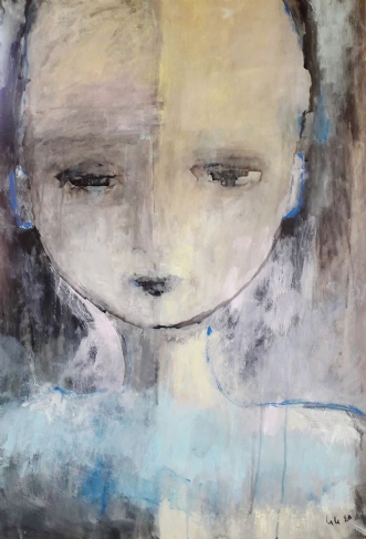 Girl with blue ears by Jette Lili Hollesen | maleri