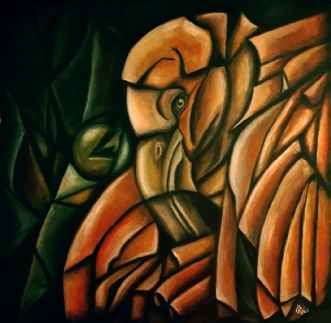 Flamingo in cubism by Katerina Cechova | maleri