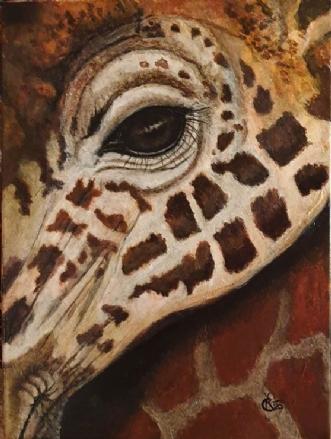Giraffe in a detail by Katerina Cechova | maleri