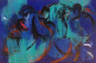 Cafeen med turkis t.. by Tine Weppler | maleri
