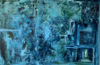 The blue lagune by Birgitte Rydal   maleri