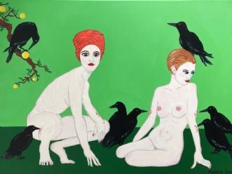 RAVNEMØDRE by Margith Kostending | maleri
