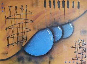 Blue cirkles by Brian Hessel Madsen | maleri