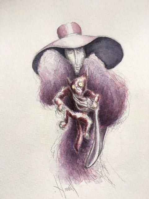 Kvinde med kat by Kim Hedemann | tegning