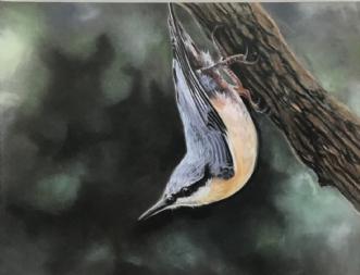 Spætmejse  by Heidi Berthelsen | maleri