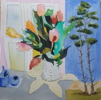 Ude og inde III by Annemarie Jepsen | maleri