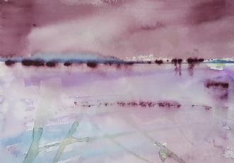 Rødt landskab II by Annemarie Jepsen | tegning