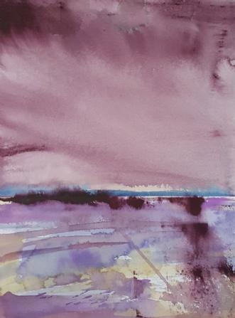 Rødt landskab III by Annemarie Jepsen | tegning