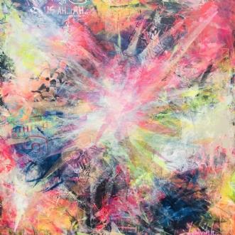 Colourful Chaos 1 by Merete Lemvigh | maleri