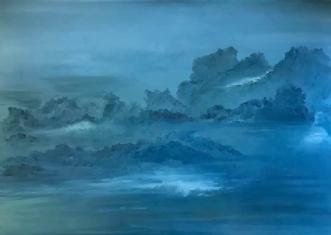 Blue Skies by Asta Nissen | maleri