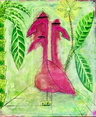 Tres Flamengos by Lone Gadegaard Dyrby | maleri