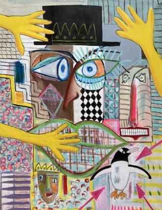 Pretty pissed pengu.. by Lone Gadegaard Dyrby | maleri