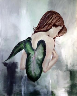 Pige med blad 1 | Maleri