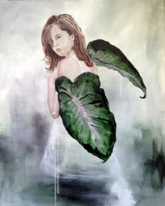 Pige med blad 2 by Conni Ravn | maleri