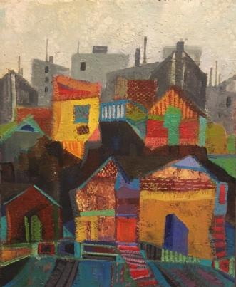 Huse i syden by Birthe Kjærsgaard | maleri