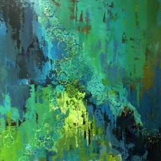 Blågrøn komposition by Birthe Kjærsgaard | maleri