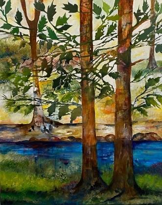 Skovbryn med grønne.. by Mette Hansgaard | maleri