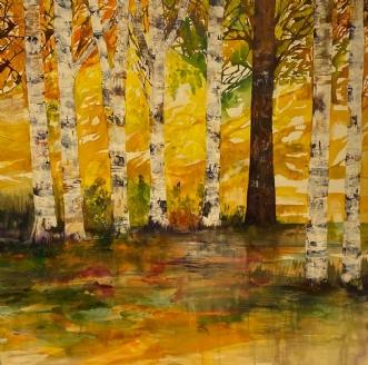 Birkeskov i efterår.. by Mette Hansgaard | maleri