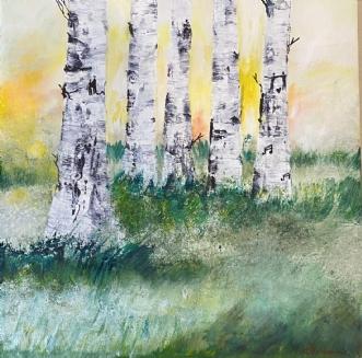 Englelys i skovbryn by Mette Hansgaard | maleri
