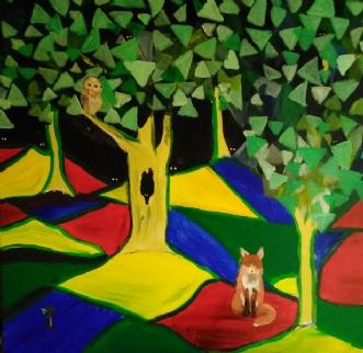 Ræv og ugle  (fox a.. by Rita Laila Jensen | maleri
